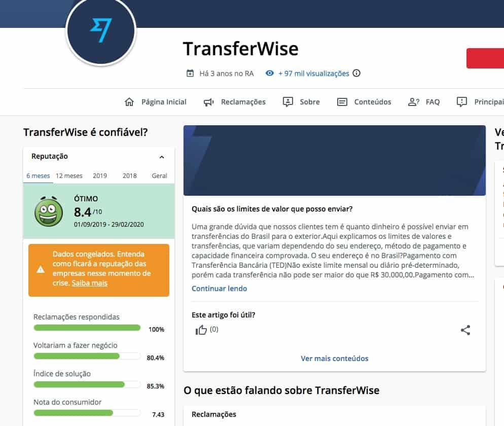 Transferwise Reclame aqui Borderless